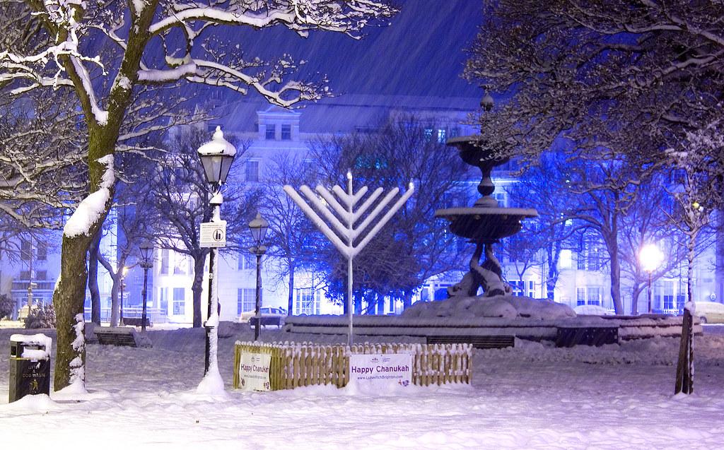 Happy Chanukah Snow Covered Chanukah Menorah One Of A