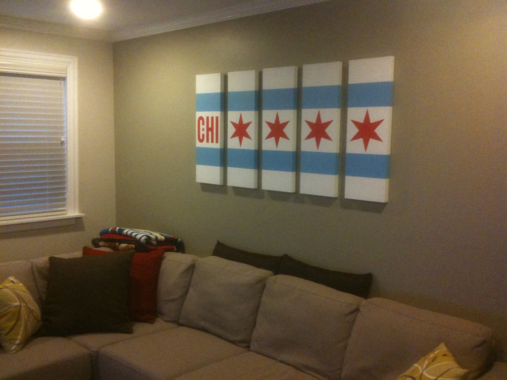 Chicago flag living room art  Custom hand painted art I