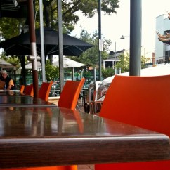 Orange Cafe Chairs Hanging Papasan Chair And Their Tables Out
