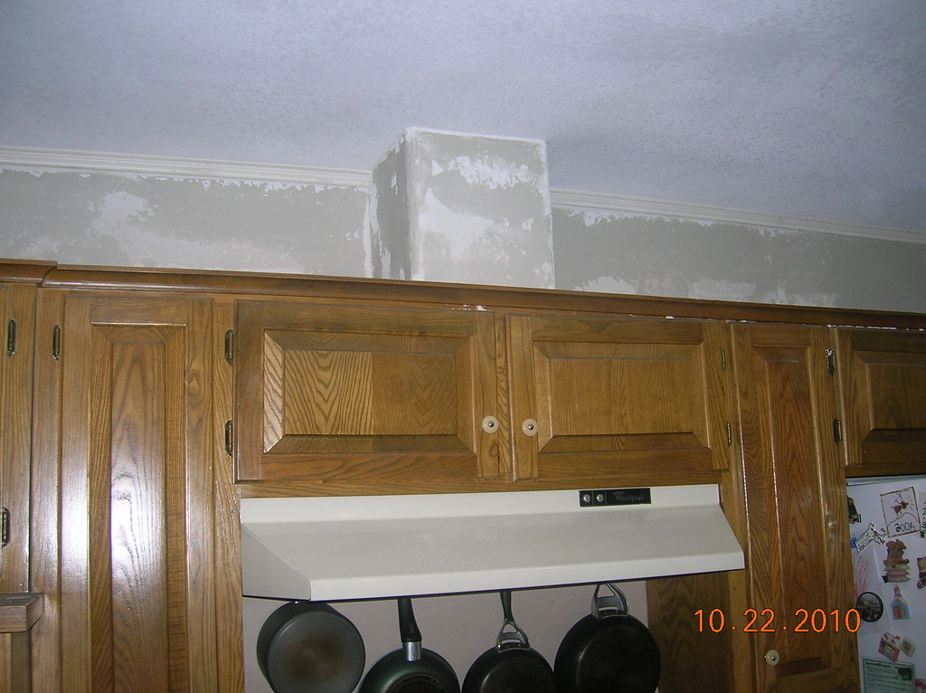 kitchen picture workstation remodel - remove fur down | removed sheetrock ...
