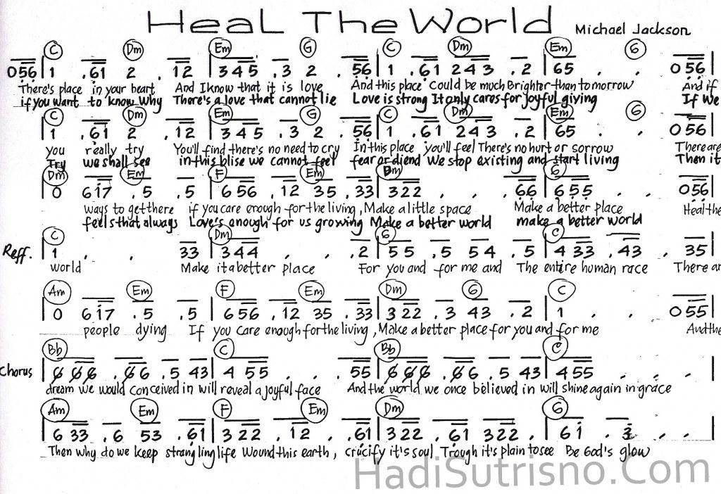 Partitur lagu-sheet music-Heal-The-World-Michael-Jackson