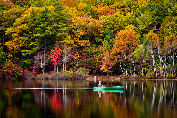 4k Fall Painting Wallpapers Fall Fishing Trip At Walden Pond Concord Ma A Lake Is