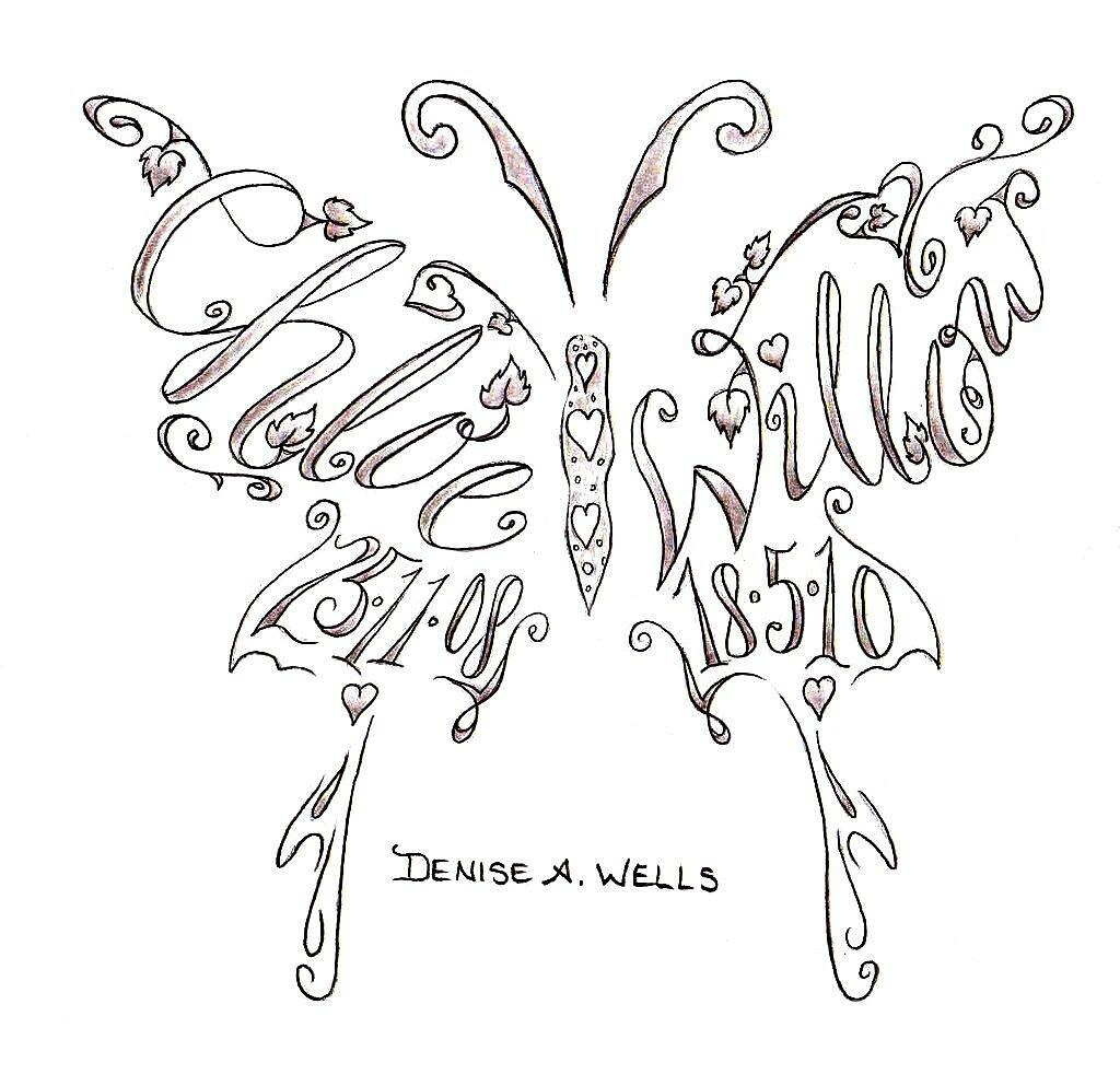 Name tattoos made into a butterfly shape by Denise A. Well