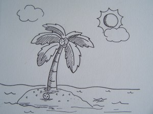 simple landscape line drawing