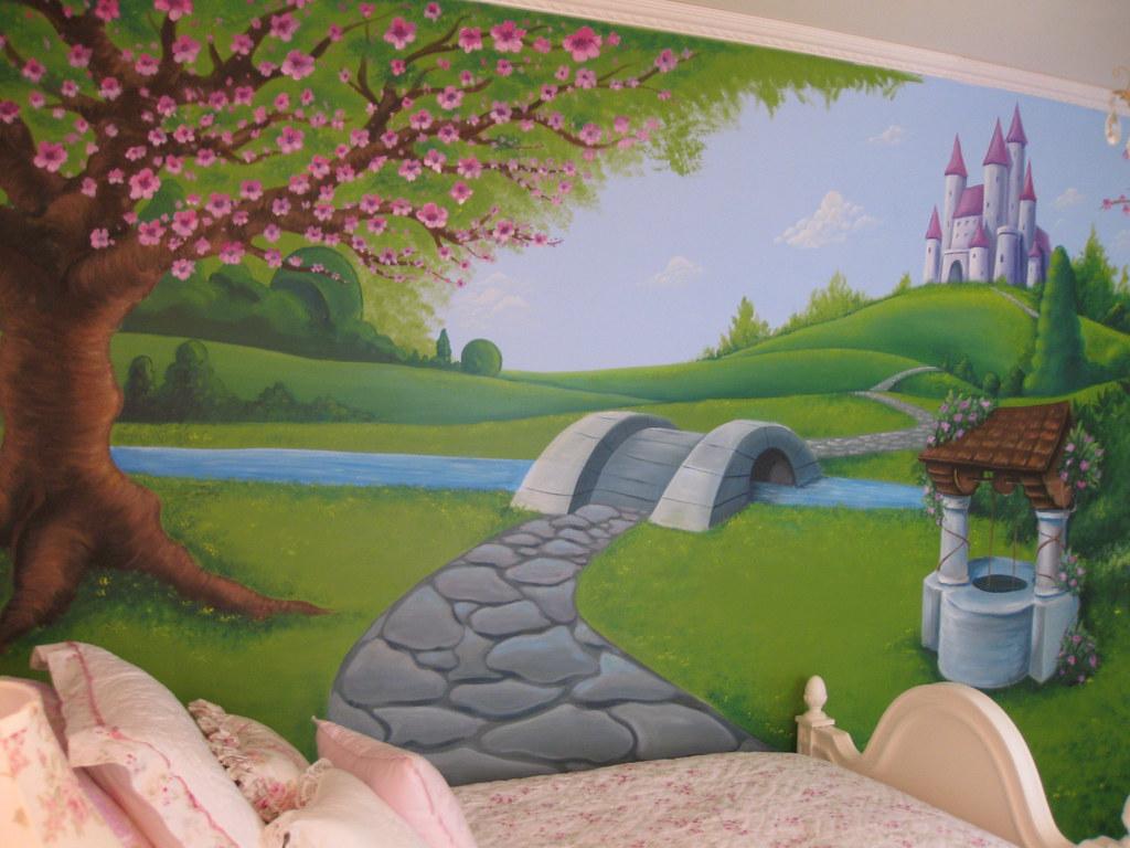 Princess  Girls Wall Mural  Hand Painted Bedroom Wall