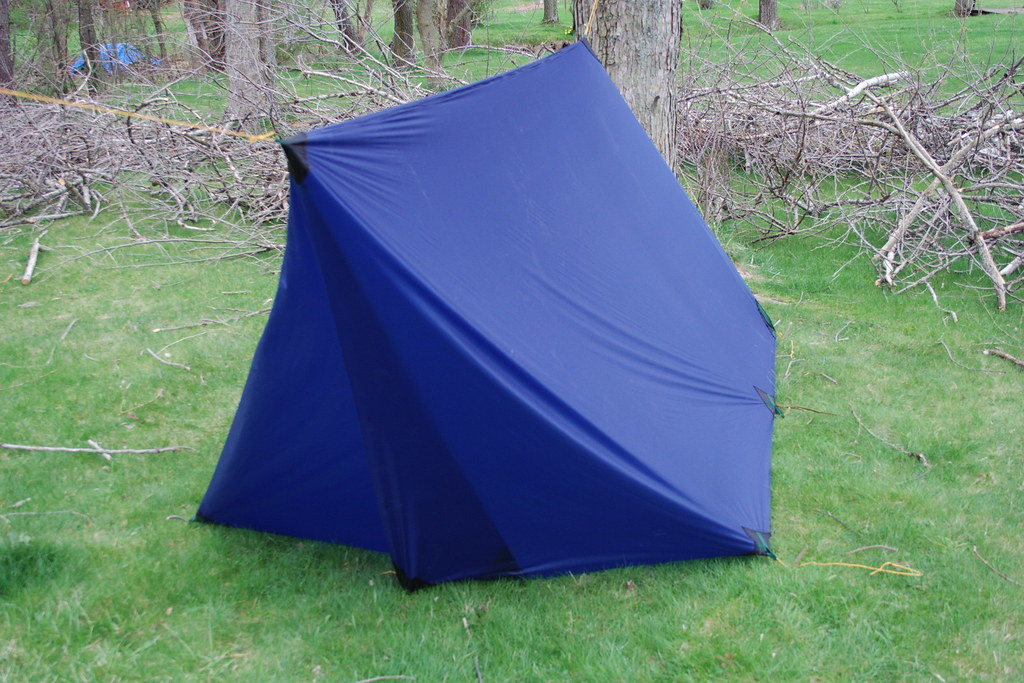 diy tarp tent foul weather door  with a pair of added
