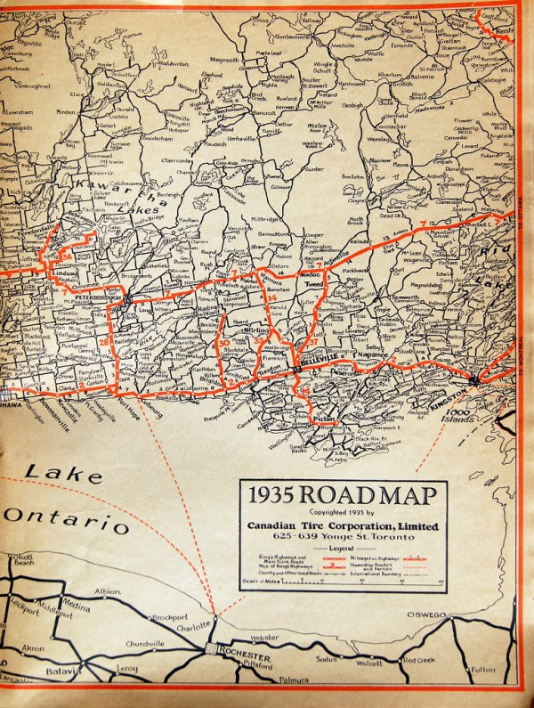 Road Map of Eastern Ontario in 1935 Glen Flickr