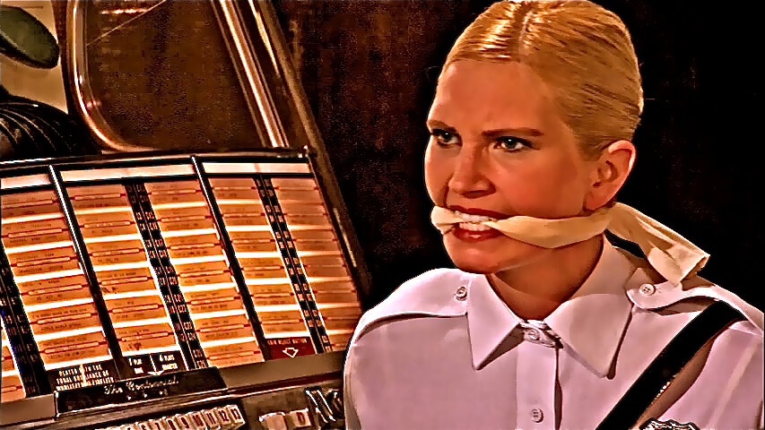 Gagged Blonde Cop  painted still frame from film Nine