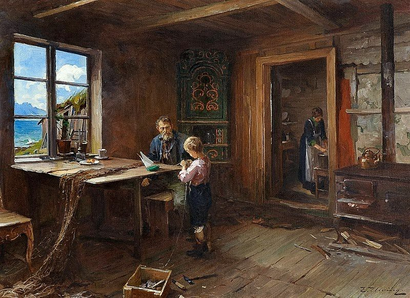 Even Ulving 1863 1952 Norwegian Artist Interior From A