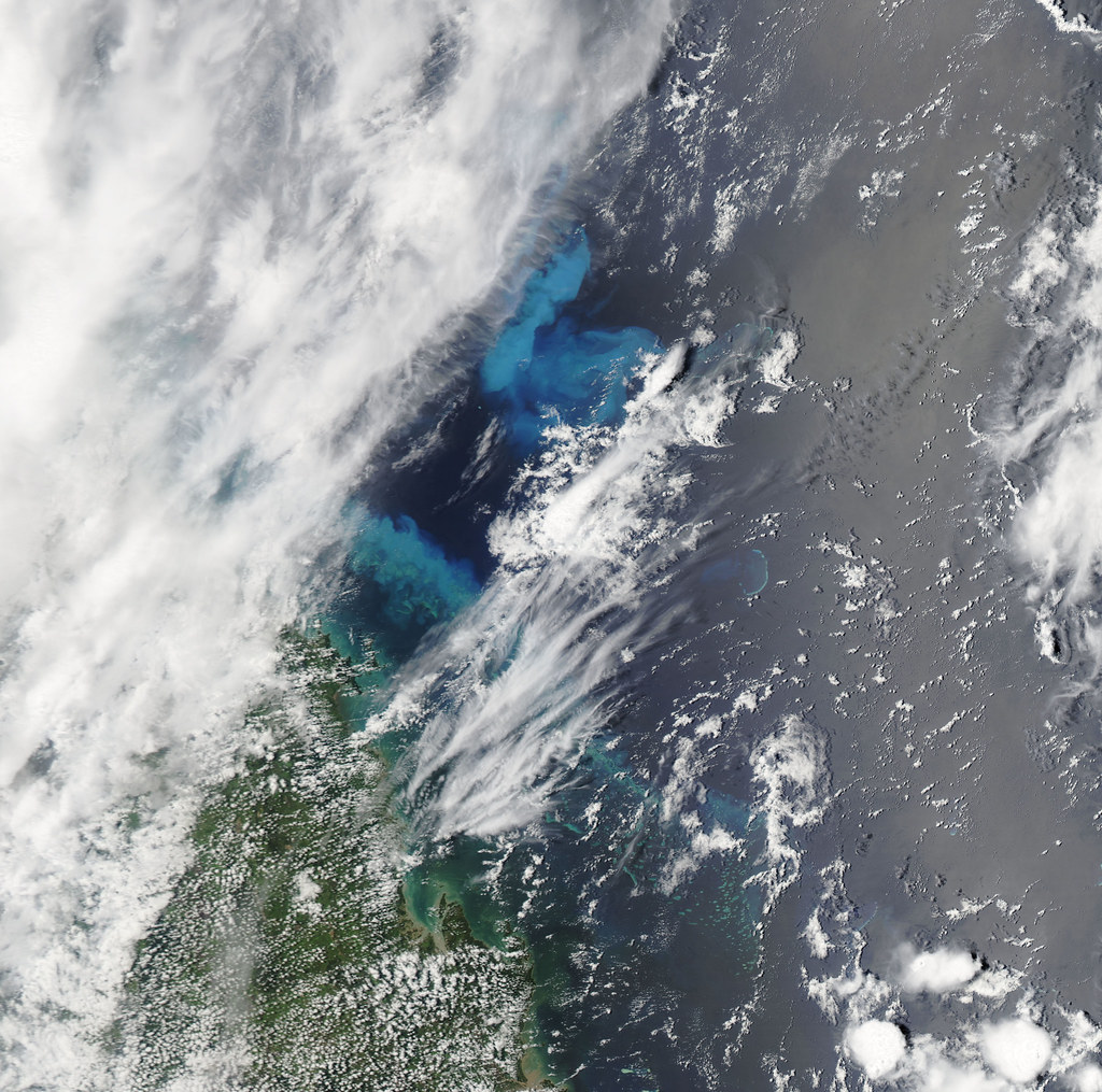 Sediment over the Great Barrier Reef  NASA image acquired