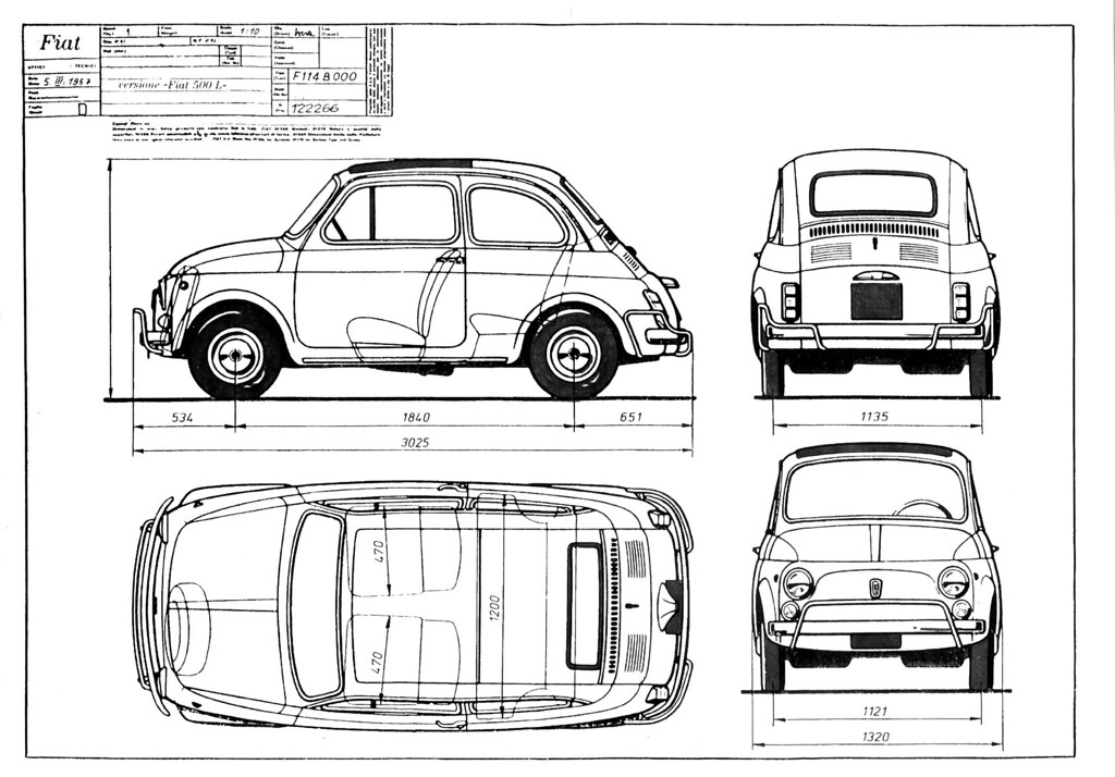 Fiat 500 Blueprint Sketch Coloring Page