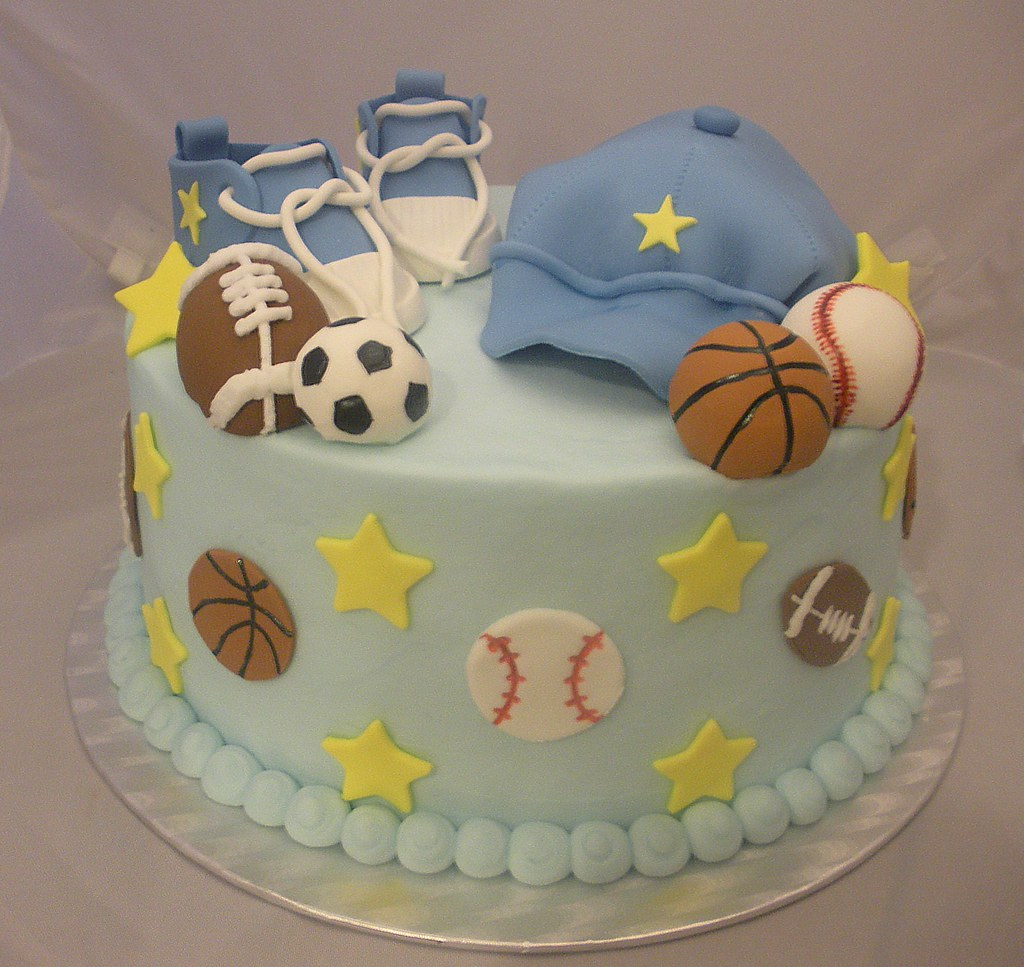 Sports Themed Baby Shower Cake