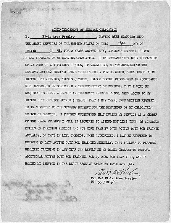 Acknowledgement of service obligation signed by Elvis Pres