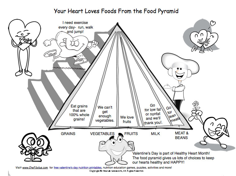 Kids' Valentine food pyramid heart healthy printable for k