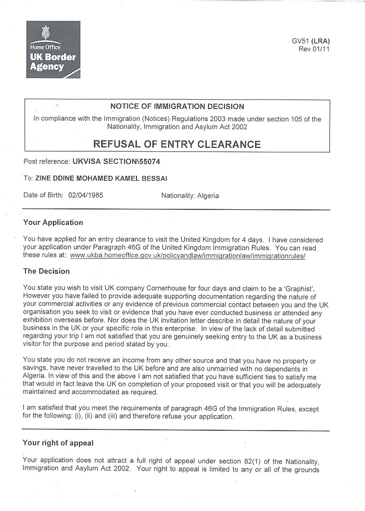 Visa rejection letter  In the months before the