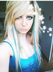 blonde blue emo scene hair style