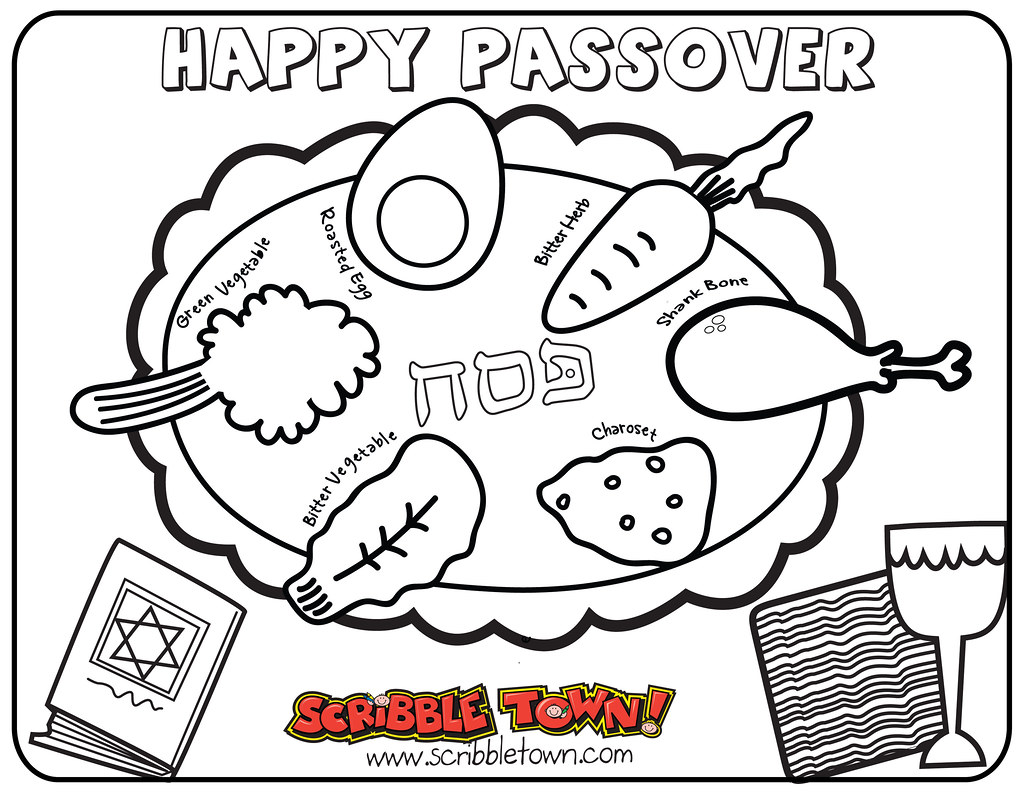 Happy Passover Coloring Place Mat