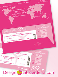 Custom Fly Ticket Wedding Invitation • Faire Part Billet D