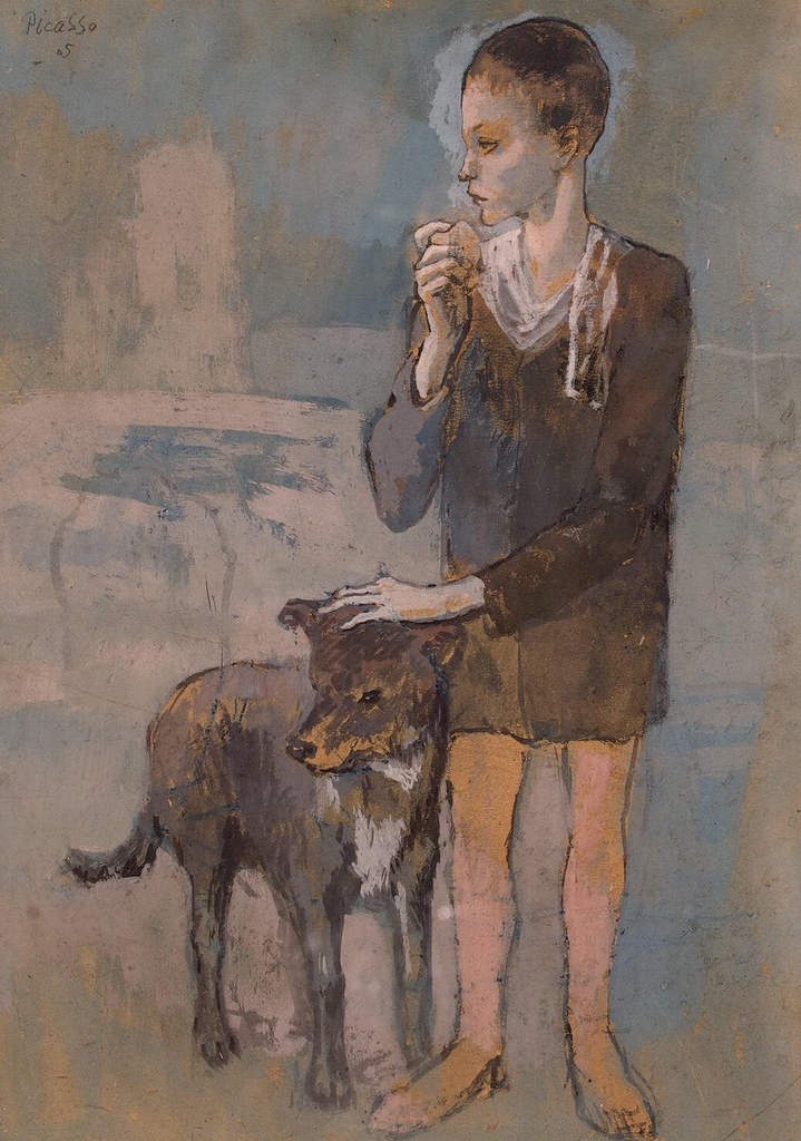 Pablo Picasso  Boy with a Dog 1905  Gouache on cardboar  Flickr