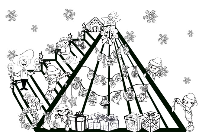 Kids Holiday Coloring Page- Nutrition FUN Food Pyramid Hol