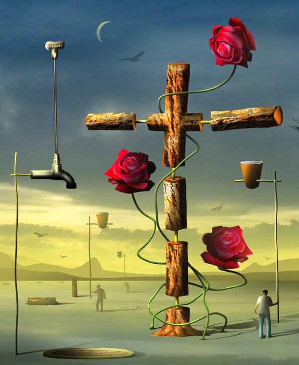 As Rosas e a Cruz Digital Art Surrealism Marcel Caram