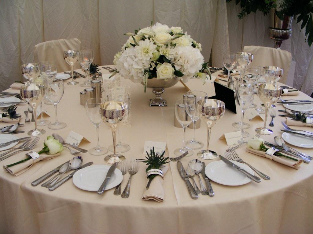 88 Events designs a Marquee Wedding  Ivory Faux Silk Tabl