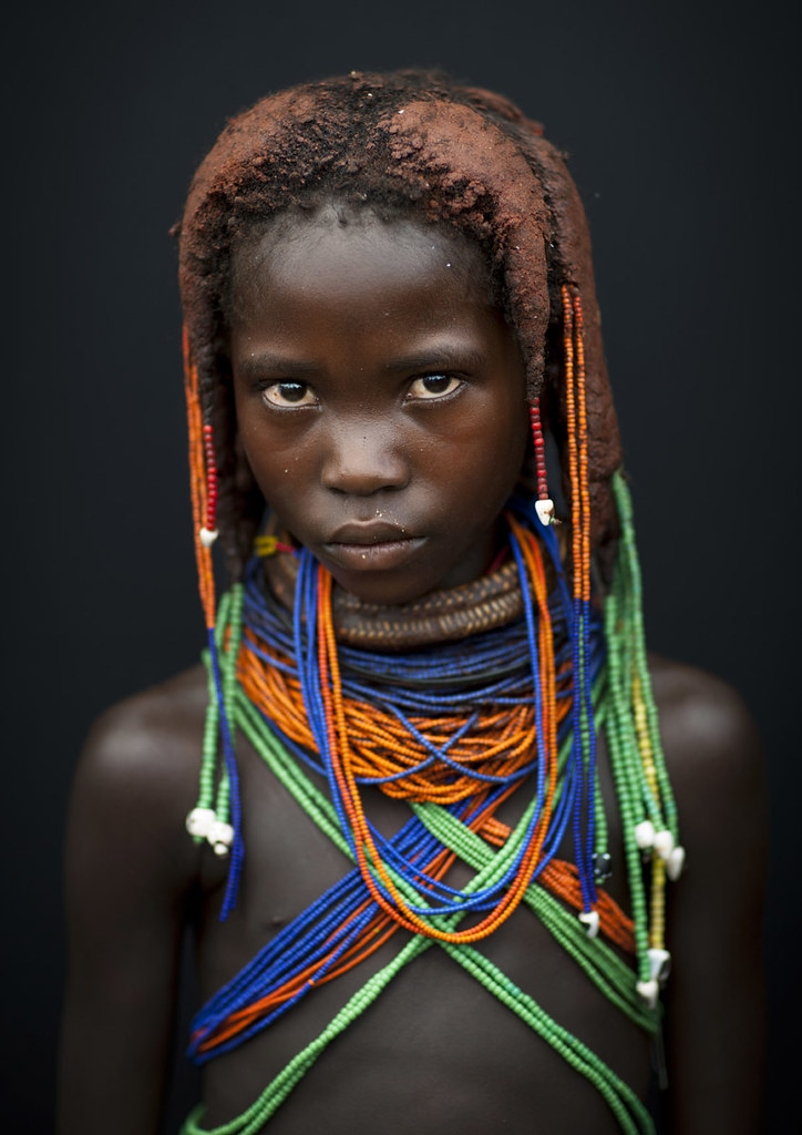 Mwila Girl With The Traditional Vikeka Necklace Angola