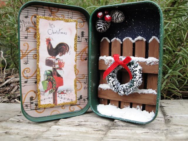 Christmas Altered Altoid Tin I Used A Copy Of A Vintage