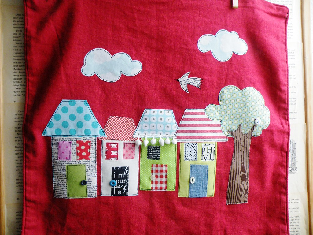 New houses   Appliqued on a finished pillow cover