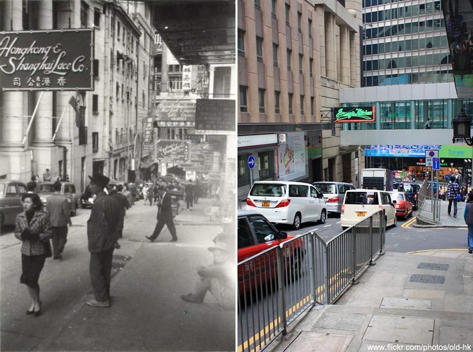 中環 - 雲咸街、安蘭街 交界 1956   圖左充滿新古典主義風格的建築物是二十年代興建的第二代「南華大廈 ...