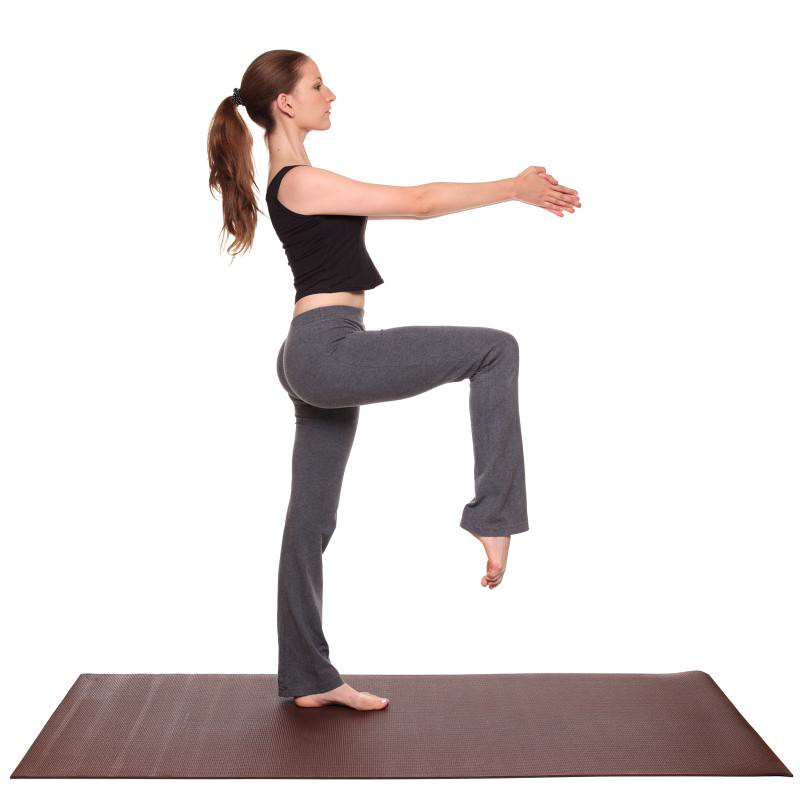 yoga poses  Stork Pose position  Isolated studio shot of