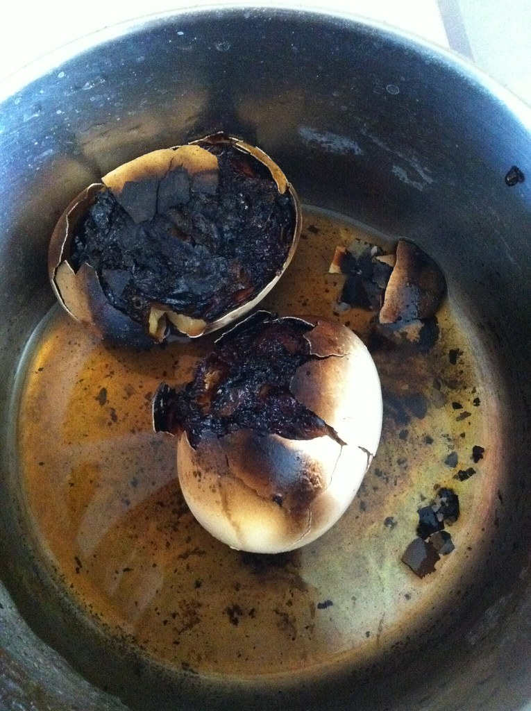 Hard Boiled Egg FAIL  I fell asleep while boiling a pair