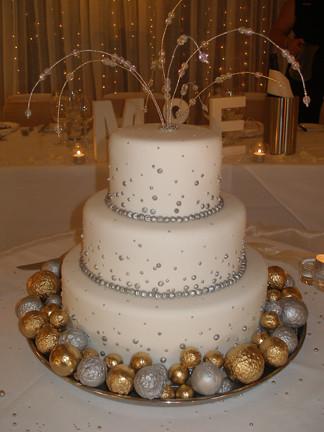 NYE wedding cake  Three tier wedding cake New Years Eve