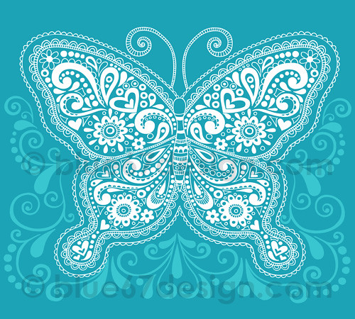 Intricate Henna Doodle Butterfly Illustration by blue67des