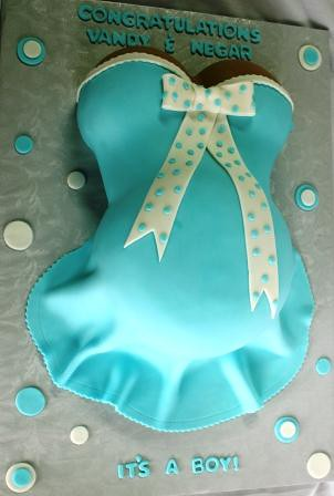Pregnant Belly Baby Shower Cake in Blue Polka Dots Vandy a