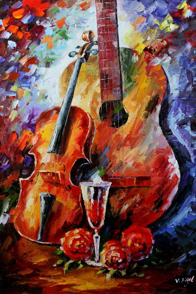 Violin Guitar Vine Flowers Painting This Painting