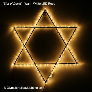 Star of David Judaism LED Rope Light Display  Rendition