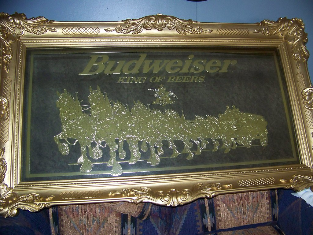 Budweiser Mirror  3 x 4 gold etched with golden trim