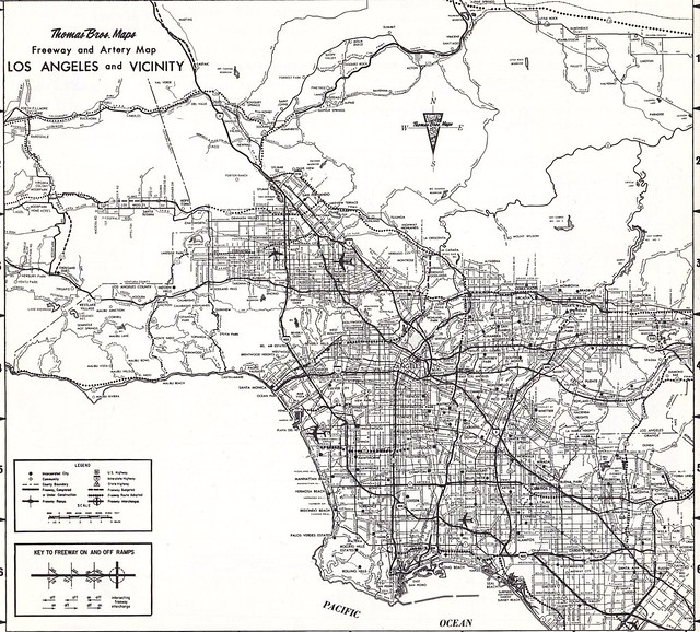 Thomas Bros Map Circa 1968 Los Angeles Metro Freeway Map