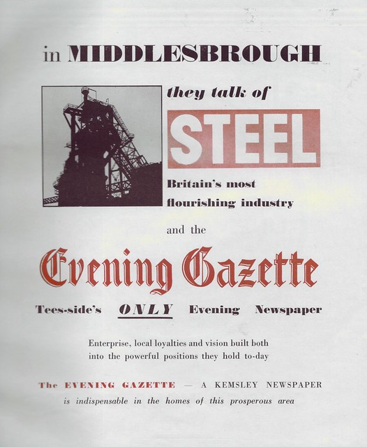 Middlesbrough Evening Gazette advert 1949