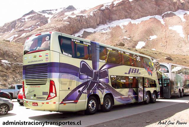 JBL Turismo | Paso Los Libertadores | Marcopolo Paradiso 1800 DD G7 - Volvo 8x2 / IWE0056 - N° 6000