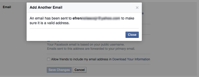 how to change Facebook primary email step 5