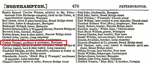 Thomas C b1806 Littleport 1854 directory Peterborough