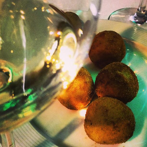 Croquetas de cocido con champagne. Chef koketo