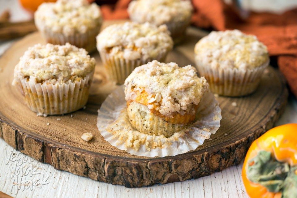 Looking for persimmon recipes? Look no further! These Mini Persimmon Coffee Cakes are quite the treat! #vegan #soyfree @VeganYackAttack