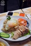 Hainan Chicken Rice, with an extra fried egg on the top