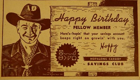 Hopalong Cassidy William Boyd Happy Birthday Card 1950