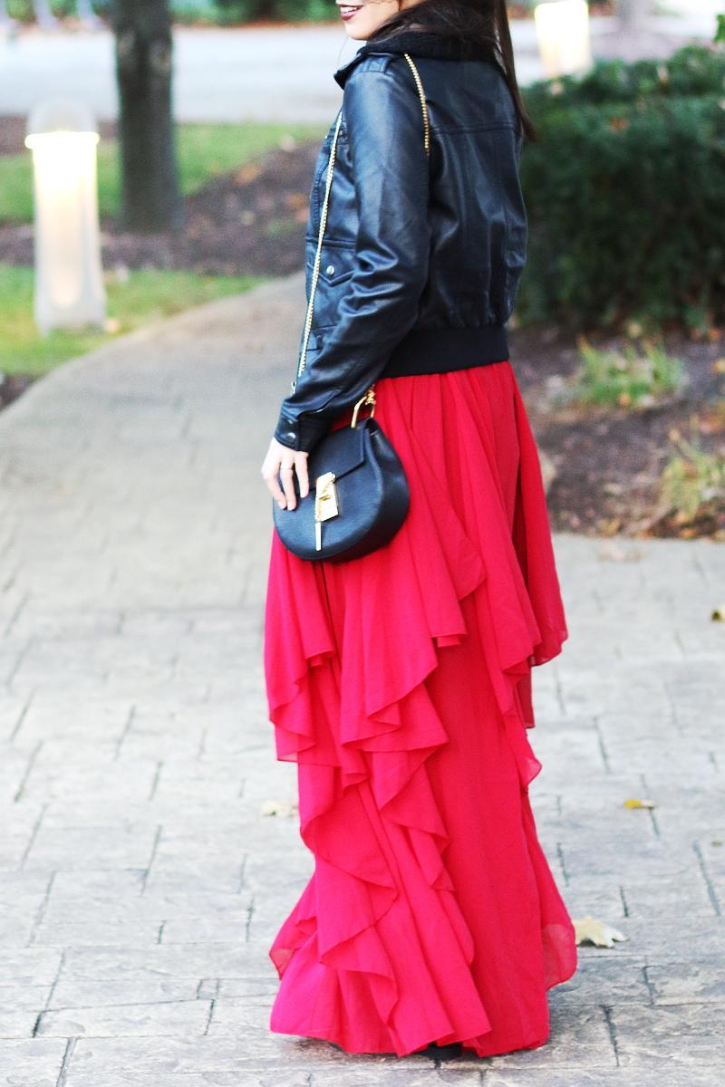 shein-red-maxi-dress-leather-jacket-chloe-drew-bag-4