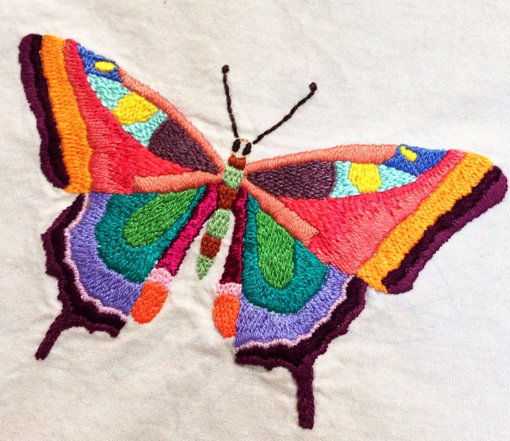 Embroidered butterfly  Im hoping to finish twenty or