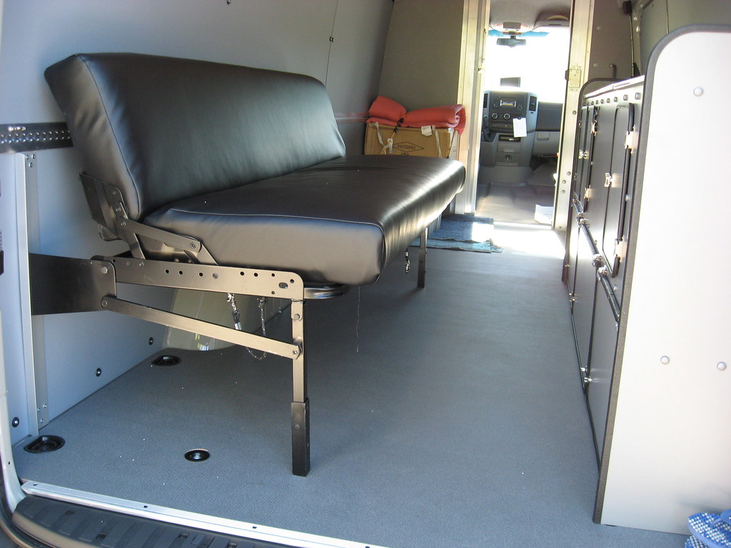 where to buy sofa seat for van antique leather bed sprinter delivery couch seating position kevin